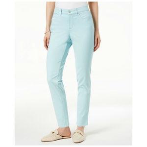 Charter Club Skinny Ankle Jeans Tummy Slim Aqua